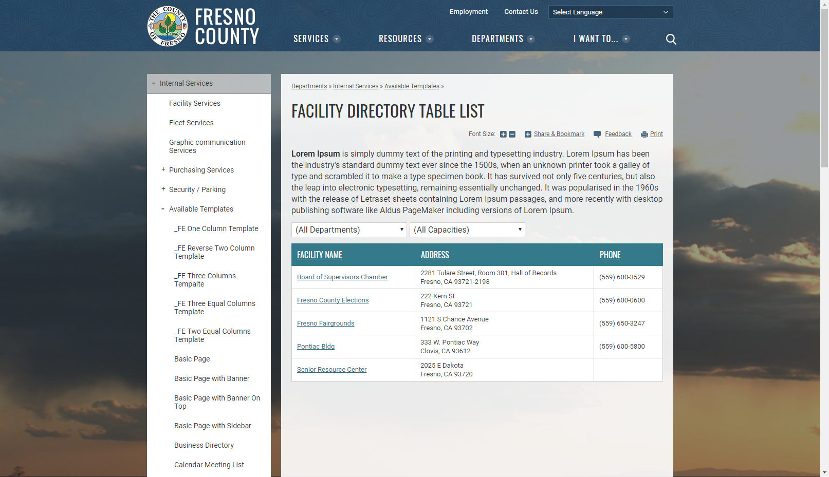 Template album page with banner and content boxes county of fresno facility directory table list 1betcityfo Choice Image