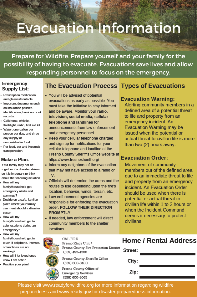 Evacuation Information Flyer Picture